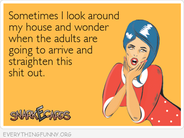 funny ecards sometimes i look around my house and wonder when the adults are going to arrive and straighten this sh*t out