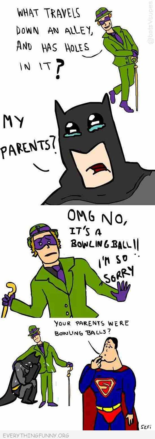 funny cartoon comic batman riddler superman insults by accident