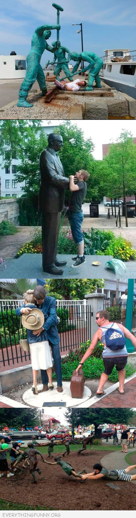funny having fun with statues