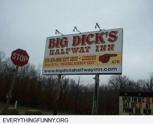 funny billboard big dick's half way inn