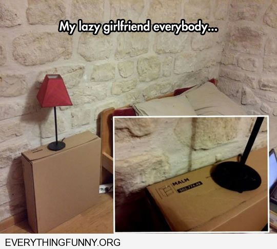 funny lazy girlfriend puts lamp on box that hold unopened bookshelf end table