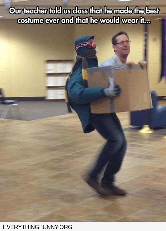 funny costumes teacher looks like holding himself in a box