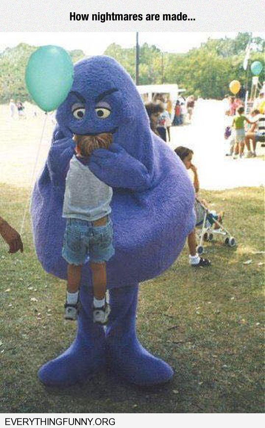 funny grimace mcdonalds eating kid how nightmares are made