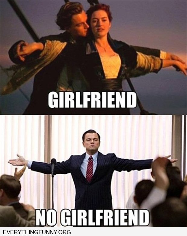 funny leonard dicaprio arms out titanic girlfirend no girlfriend