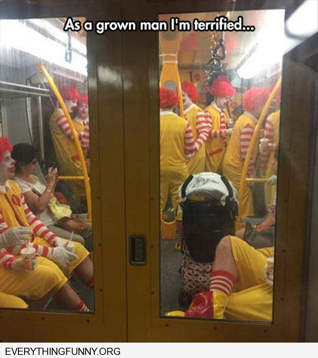 funny train filled with mcdonalds clowns as a grown man i'm terrified