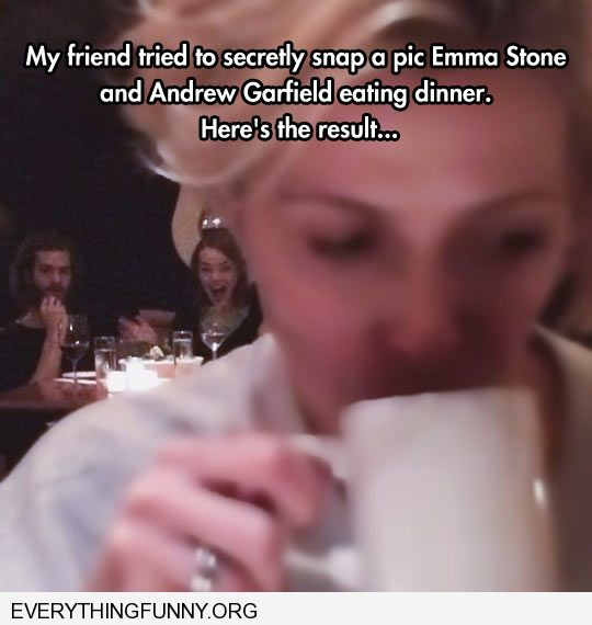 funny caption friends tried to take sneaky picture of emma stone this is what she got