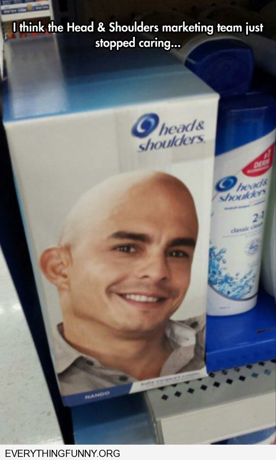 funny bald man on head and shoulders box i think the head and shoulders marketing team stopped caring