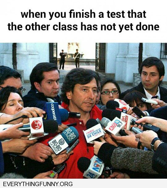 funny caption man surrounded my microphones when you finish a test the other class has not done yet