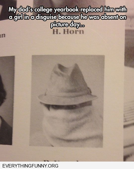 funny caption yearbook photo girl dressed in covered hat scarf because my dad was out on picture day