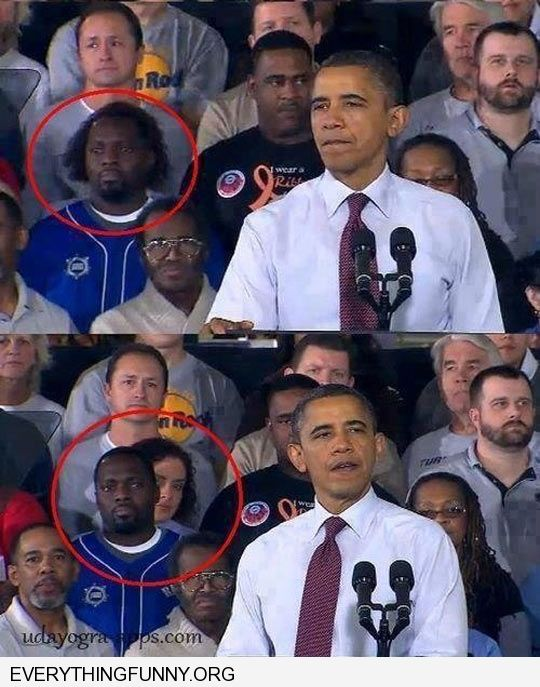 funny caption guy in crowd behind obama womens hair