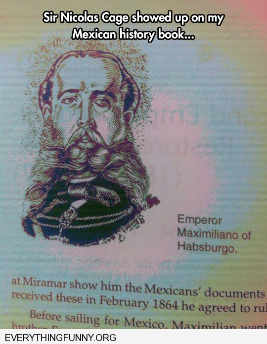 funny found picture of nicolas cage in my history book