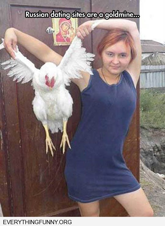 funny russian dating sites are goldmines woman holding chicken