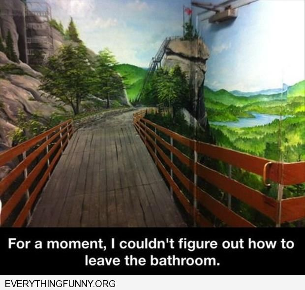 funny caption bathroom painted like farm hard to find the door to get out