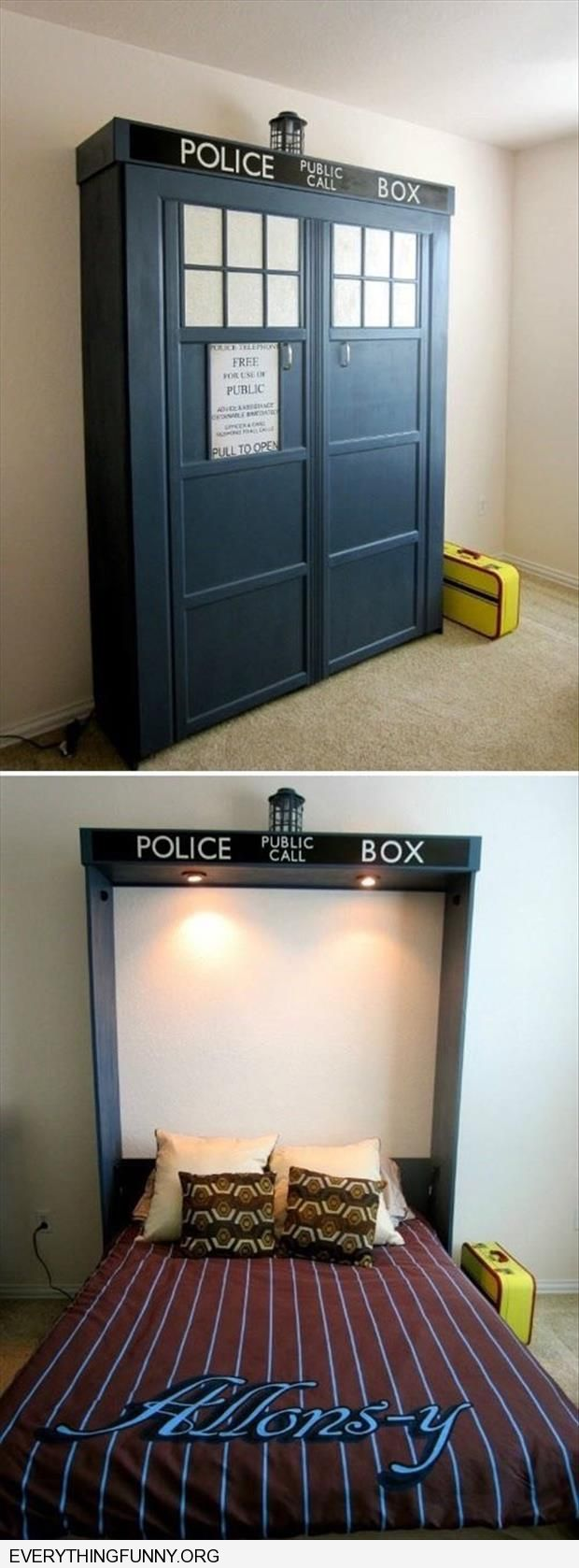 funny caption dr who tardis fold down bed