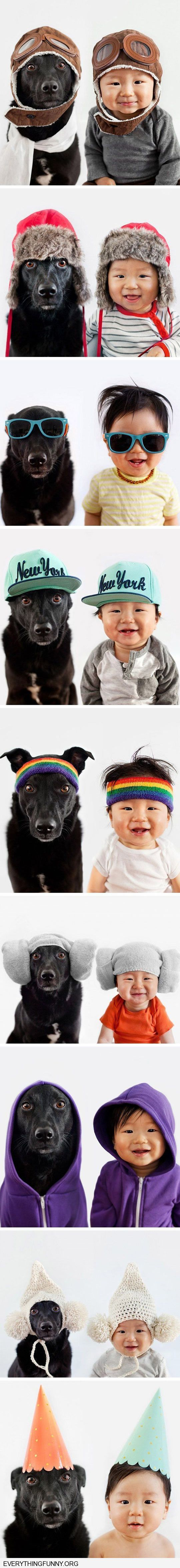 funny kids next to dogs matching hats