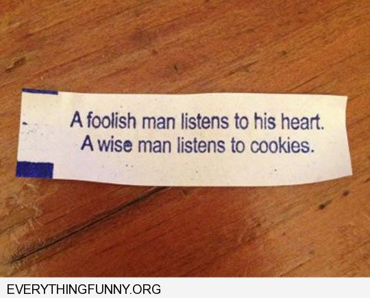 funny fortune cookies a foolish man listens to his heart a wise man listens to cookies