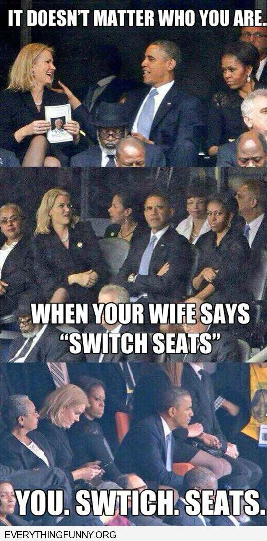 funny caption first lady makes president move his seat