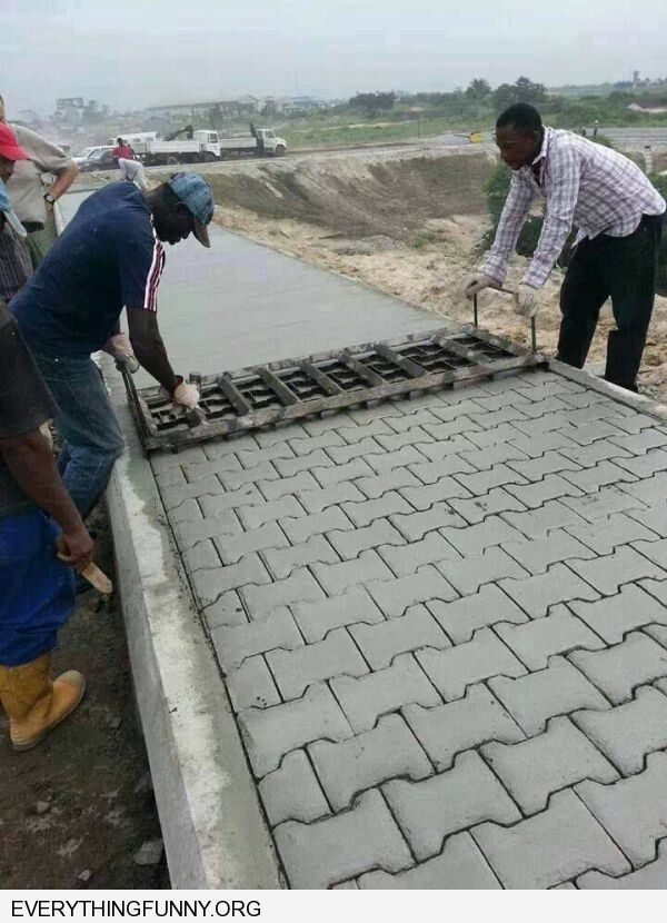 funny men using mold to make bricks on cement my whole life has been a lie