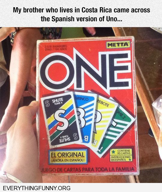 funny found spanish game of uno in costa rica game name is one