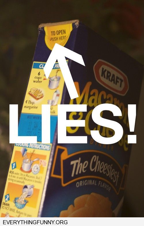 funny caption macaroni and cheese easy open box lies