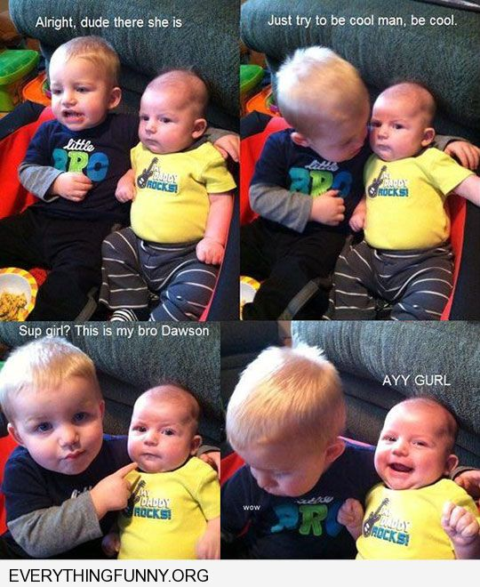 funny caption babies talking like grown ups picking up girls baby brother