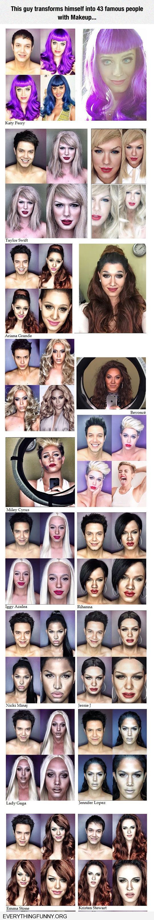funny guy transforms himself into 43 different famous people with makeup