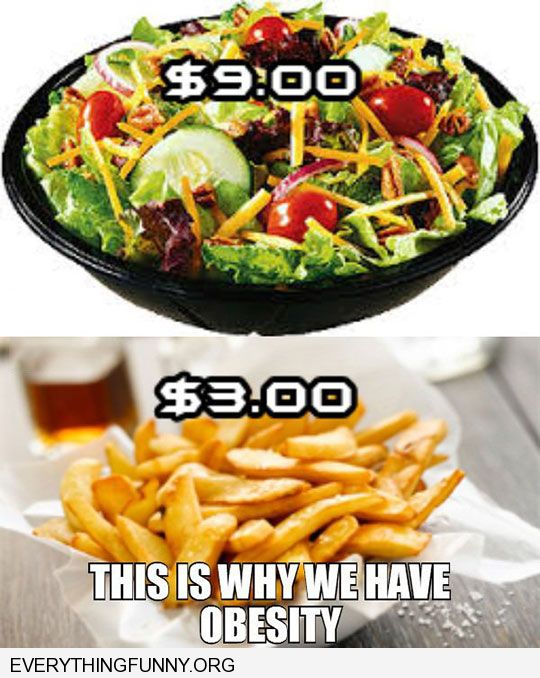 funny caption salad $9.00 junk food $3.00 this is why we have obesity