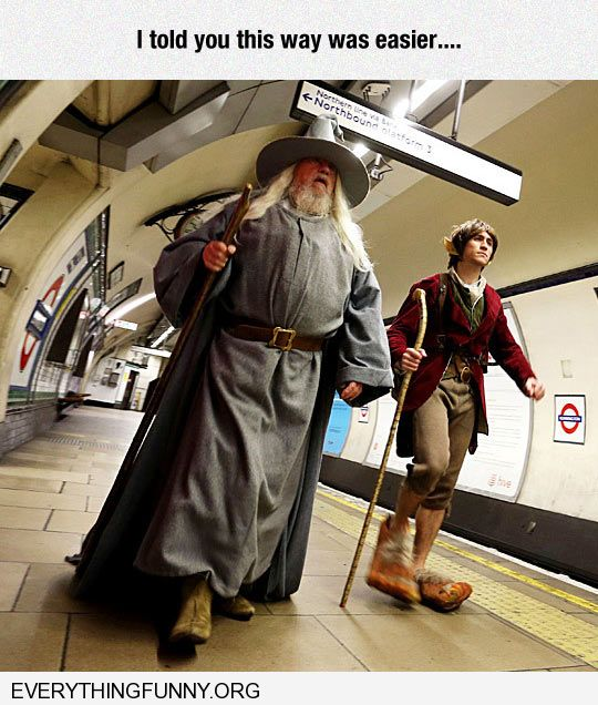 funny caption lord rings walking in train station told you this way was easier