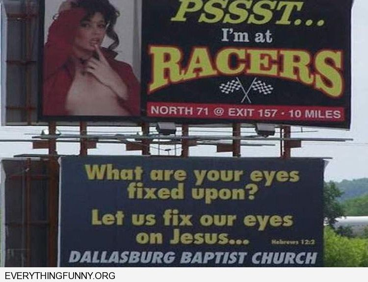 funny billboards naked woman sign above what are your eyes fixed upon God billboard