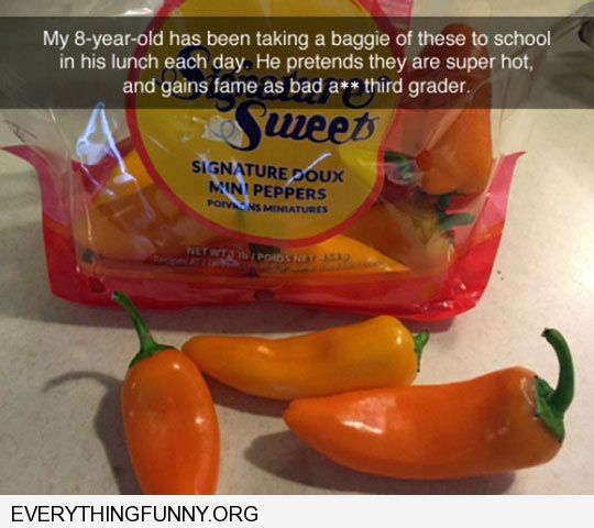 funny caption 8 year old pretends regular peppers are hot peppers to impress classmates every day