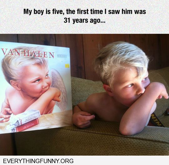 funny caption amazing likeness of mans son to old van halen record cover