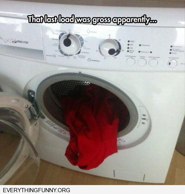 funny caption washing machine looks like face that is grossed out