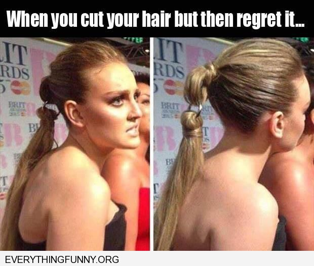 funny capiton hair extension clip when you cut your hair but then regret it