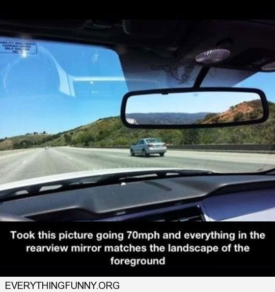funny rear view of mountains perfectly matches front view