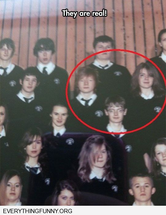funny caption school picture they are real harry ron hermoine