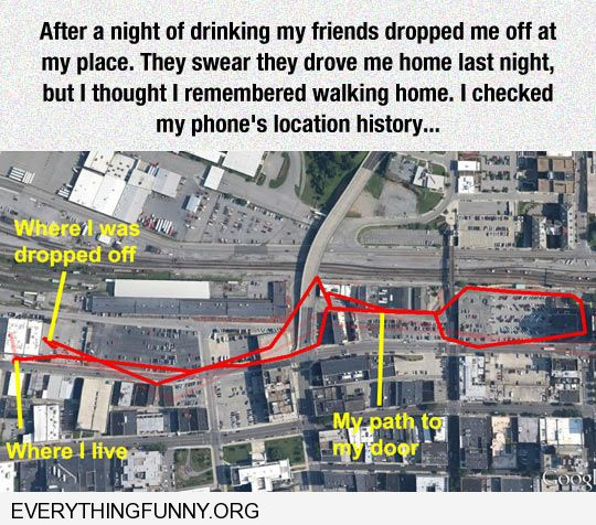 funny after a night out drinking i tracked the long way i took home with my phone's location history