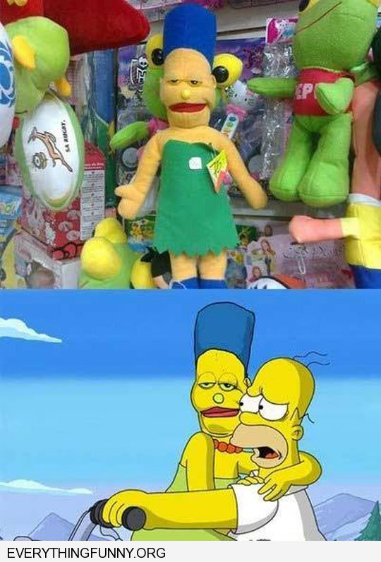 funny caption fake knock off marge simpson doll