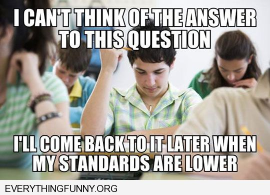 funny caption i can't answer this question right now i'll come back to it when my standards are lower test