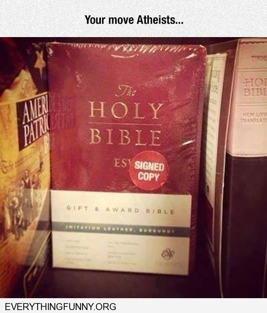 funny caption bible signed by author