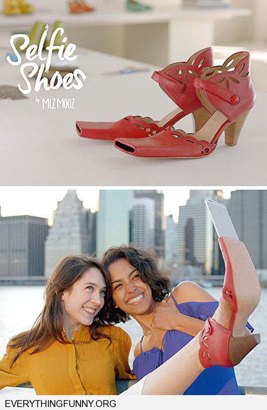funny caption selfie shoes with flat end to hold camera