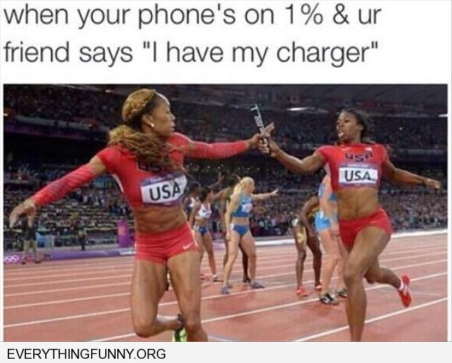 when your phone is down to 1% and you need your friends charger baton relay