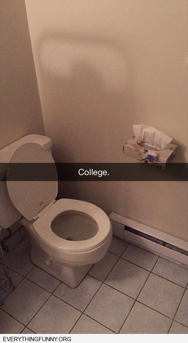 funny caption college tissues in bathroom stall instead of toilet paper