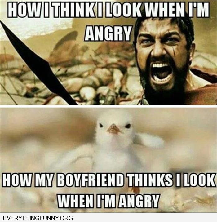 funny caption how i think i look when i'm angry how my boyfriend thinks i look chick