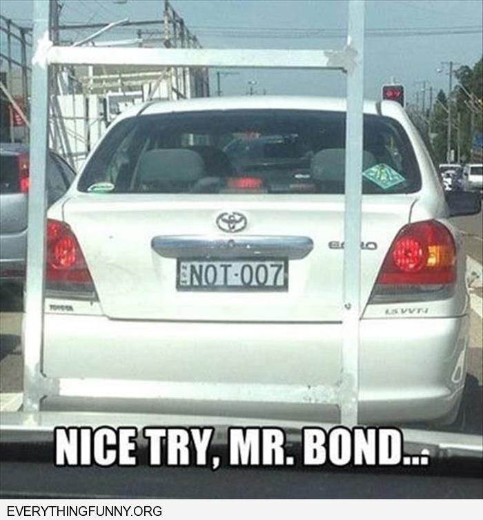 funny license plate caption not 007