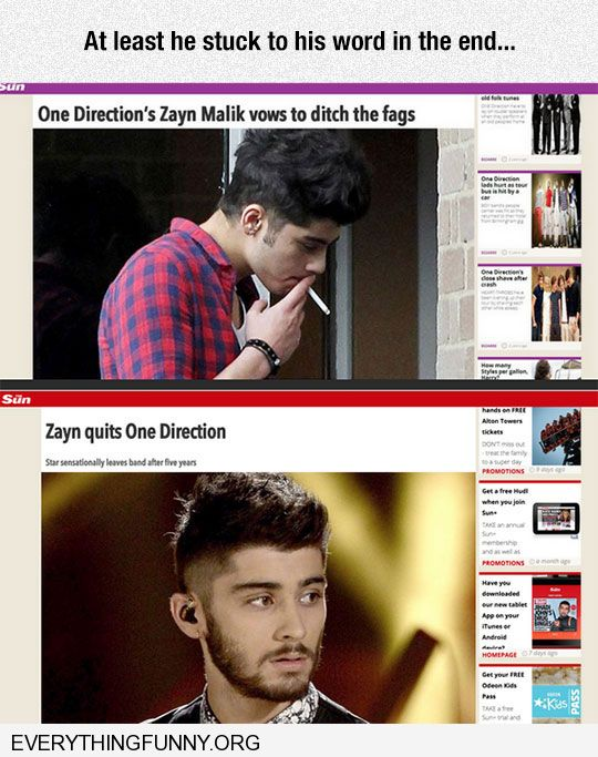 funny london british headline Zayn Malik vows to give up fags cigarettes Zayn quits one direction at least he kept his word