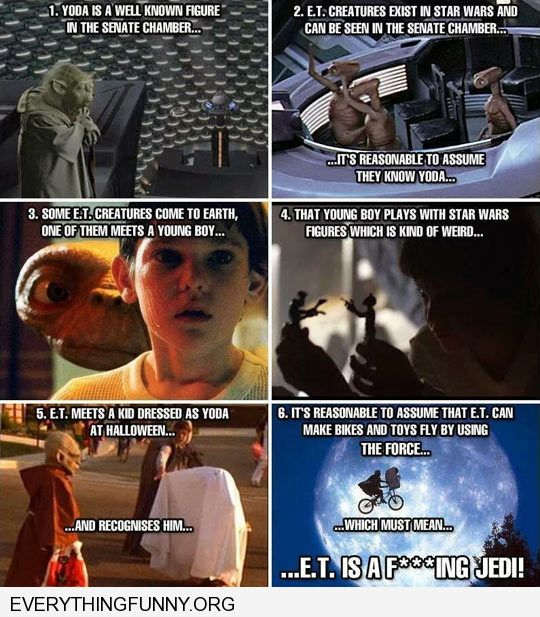 funny caption the connection between star wars and e.t.