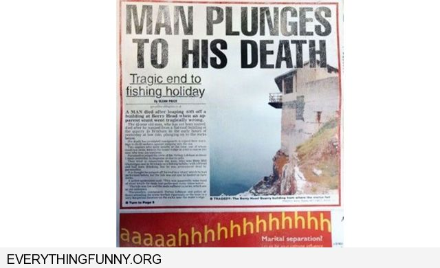 funny bad ad placement man plunges to death aahhhhh underneath