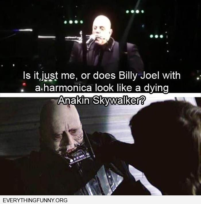 funny caption billy joel with a harmonica looks like a dying anakin skywalker