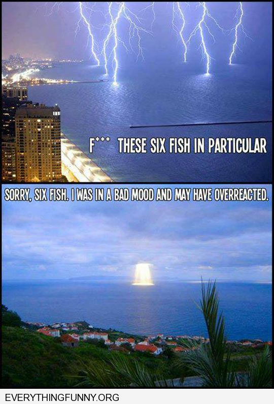 funny caption lightning strikes water God wanted to kill these fish particularly then a ray of healing sun hits the water