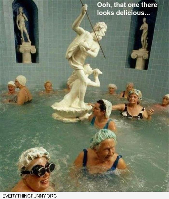 funny picture statue with spear old women swimmng in pool around here that one there looks delicious